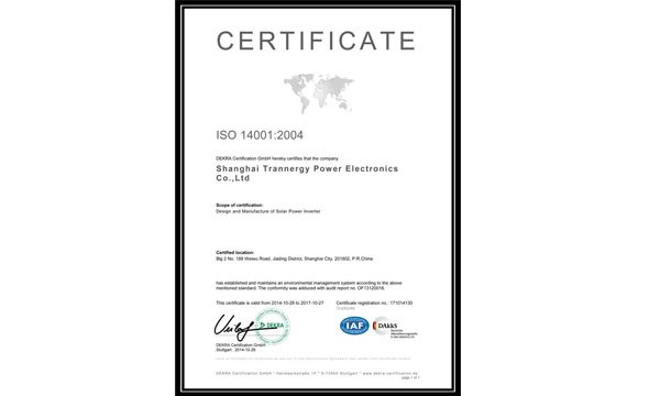 Trannergy Receives ISO14001:2004 Certification
